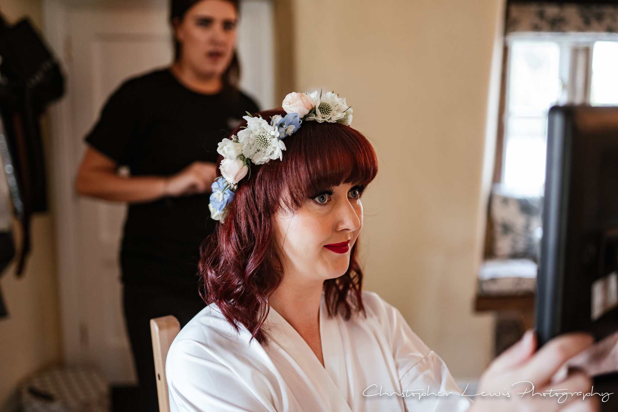 Browsholme Hall Wedding bride getting ready