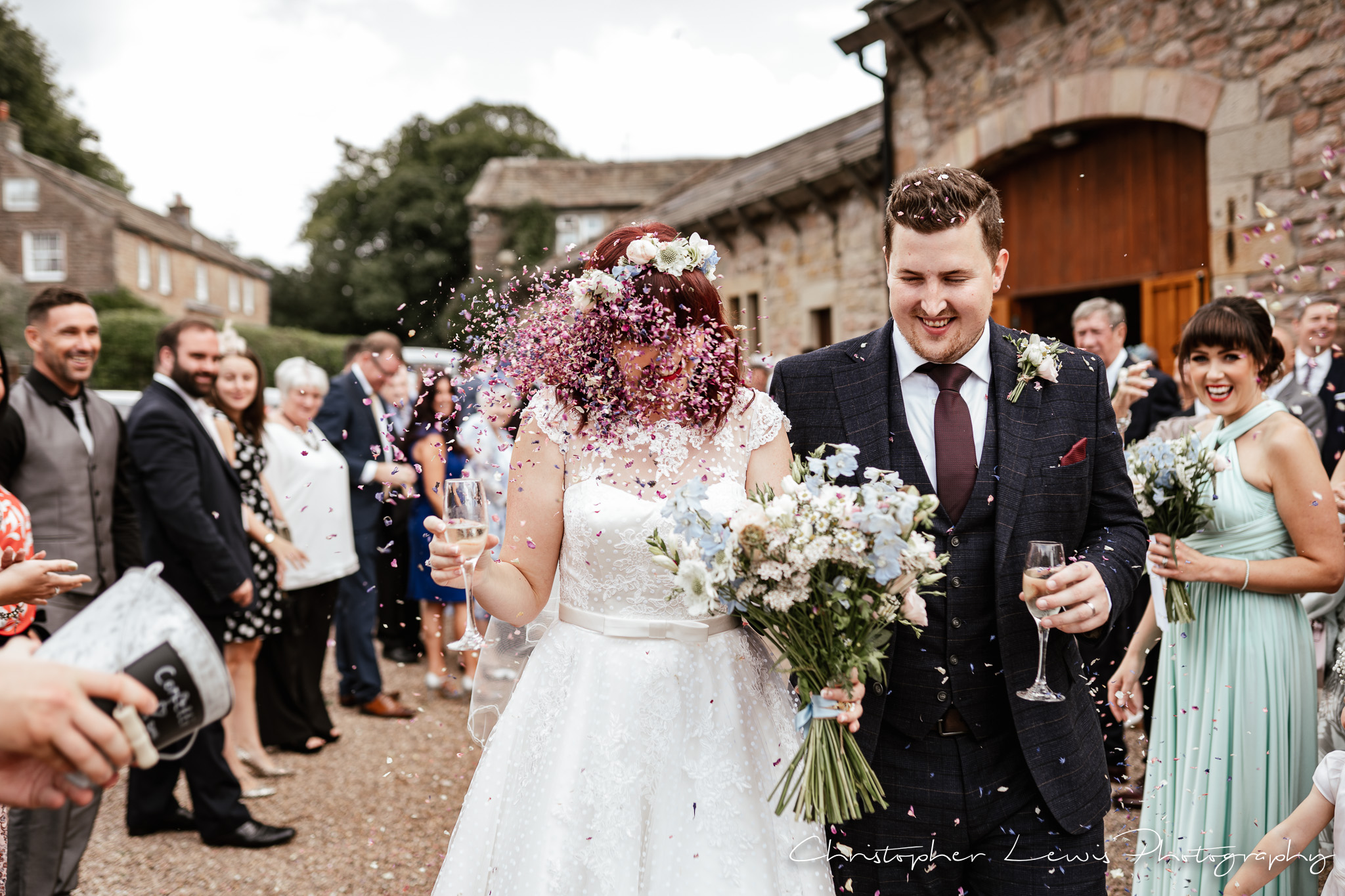Browsholme Hall Wedding confetti in face