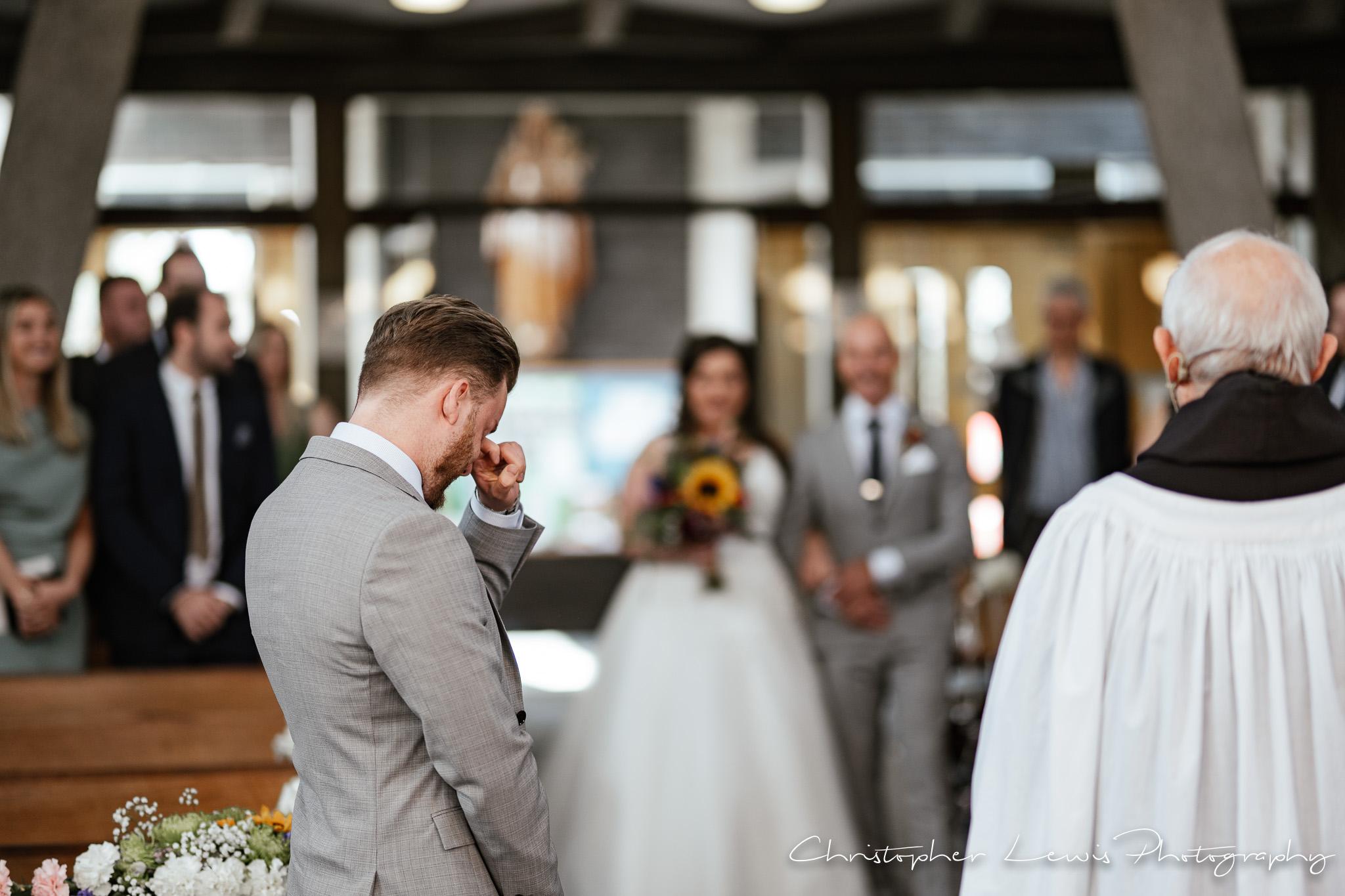 Samlesbury Hall Wedding groom crying