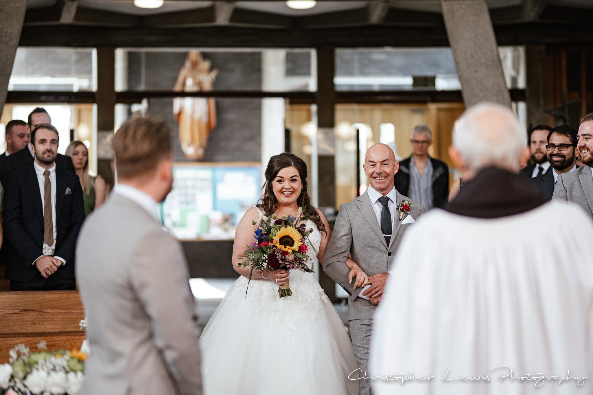 Samlesbury Hall Wedding bride coming down aisle
