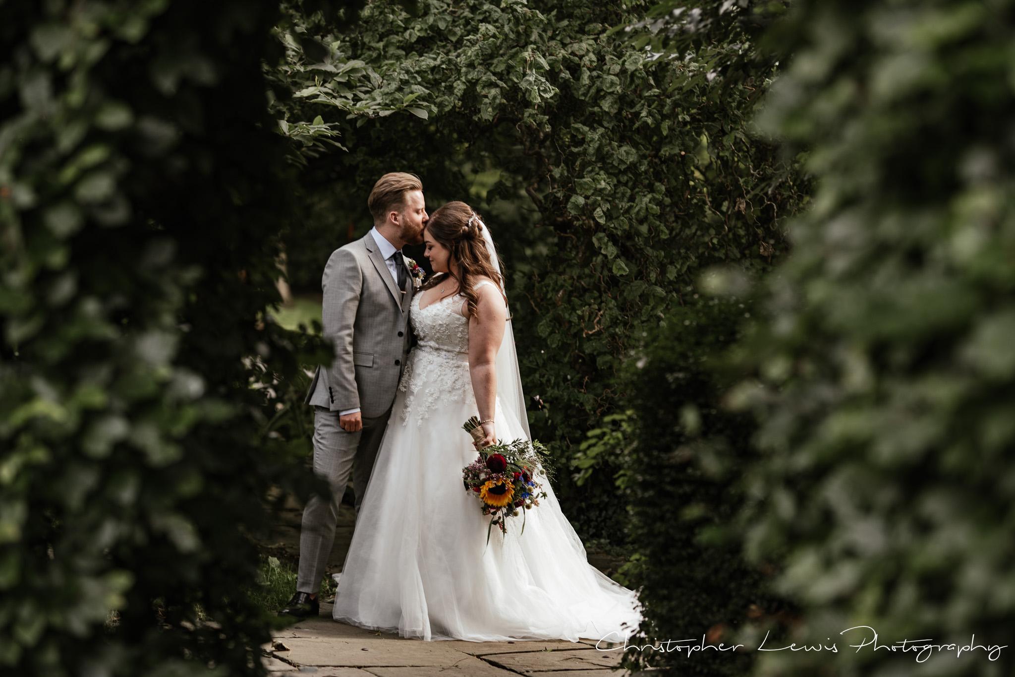Samlesbury Hall Wedding bride and groom portrait