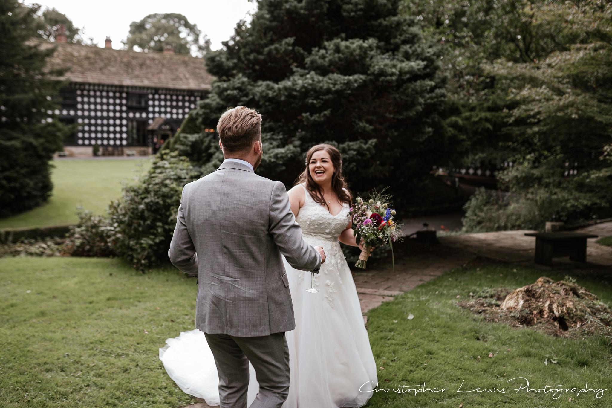 Samlesbury Hall Wedding bride laughing