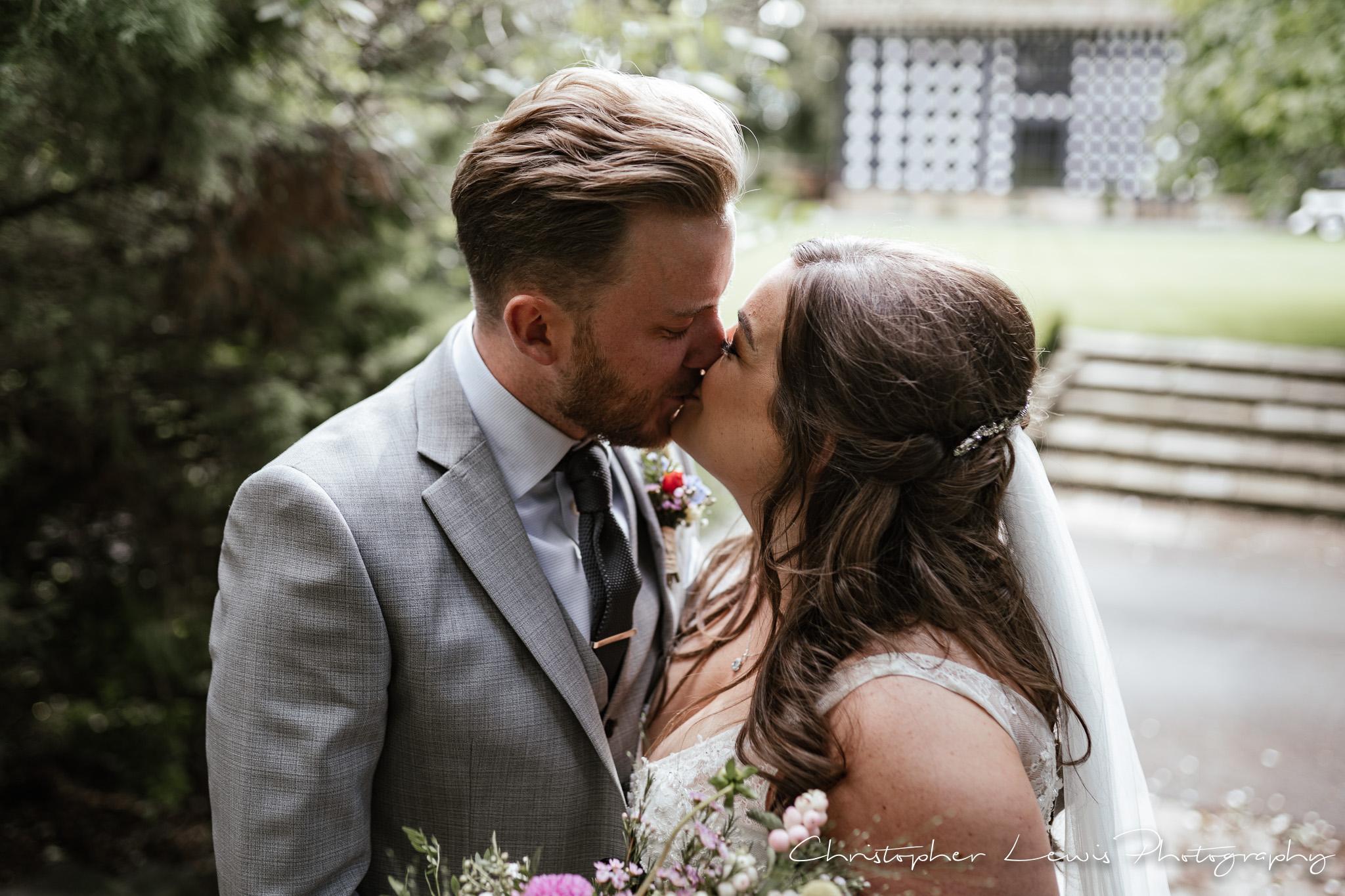 Samlesbury Hall Wedding kiss