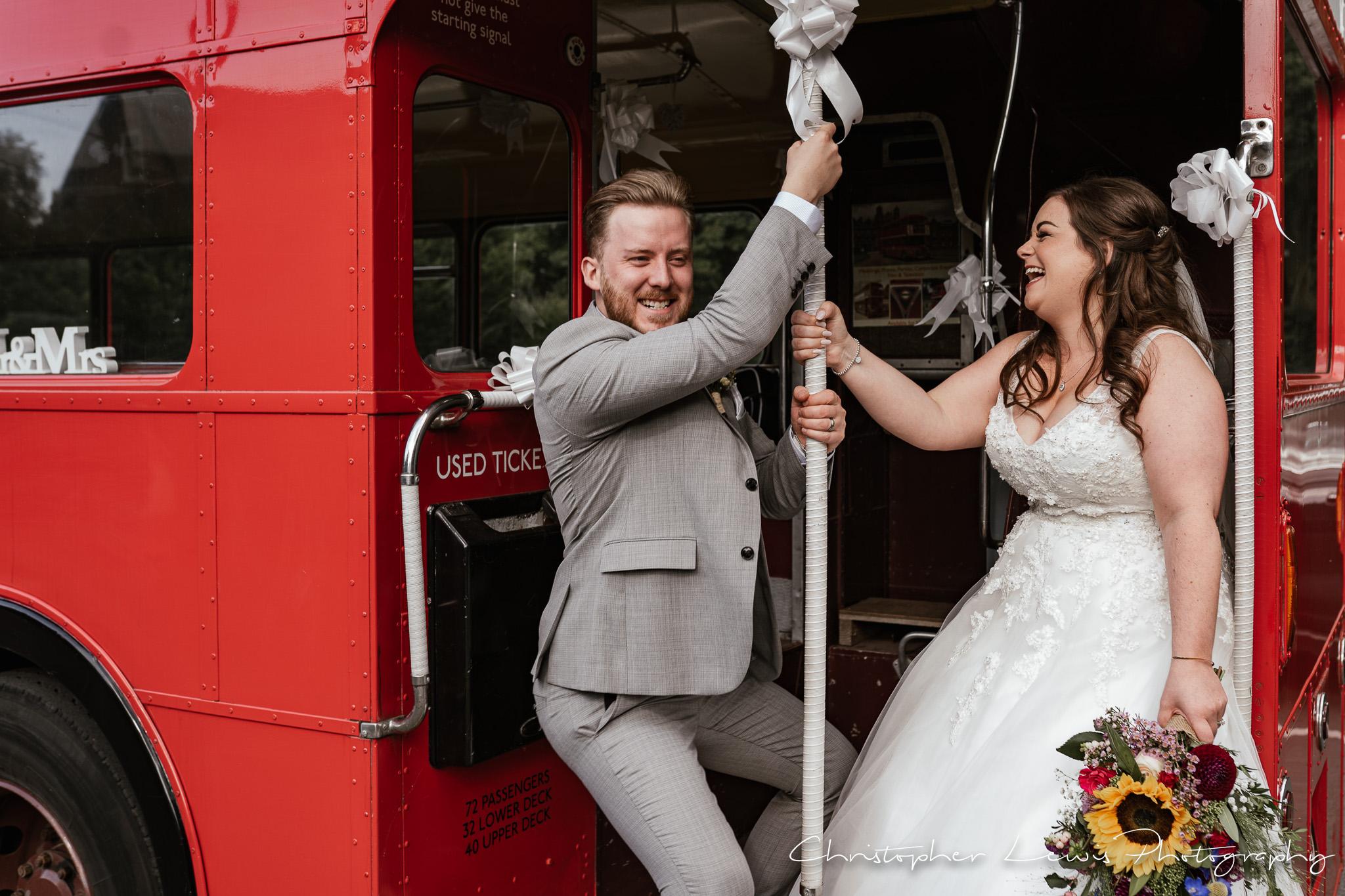 Samlesbury Hall Wedding wedding bus