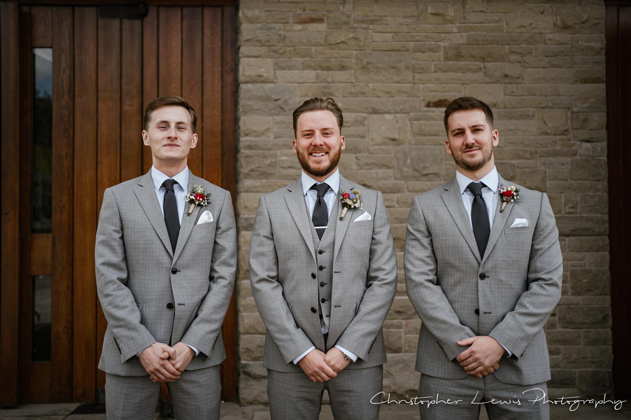 Samlesbury Hall Wedding groom and groomsmen