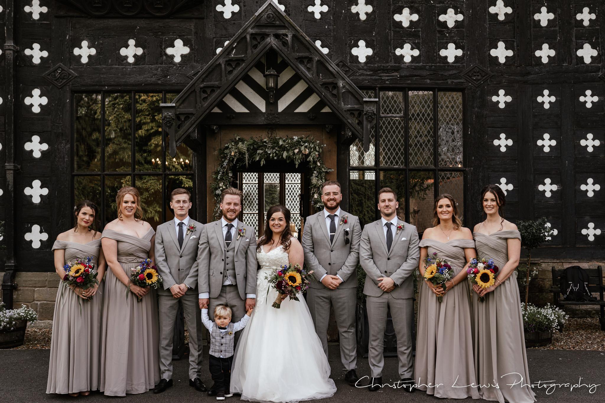 Samlesbury Hall Wedding confetti bridal party