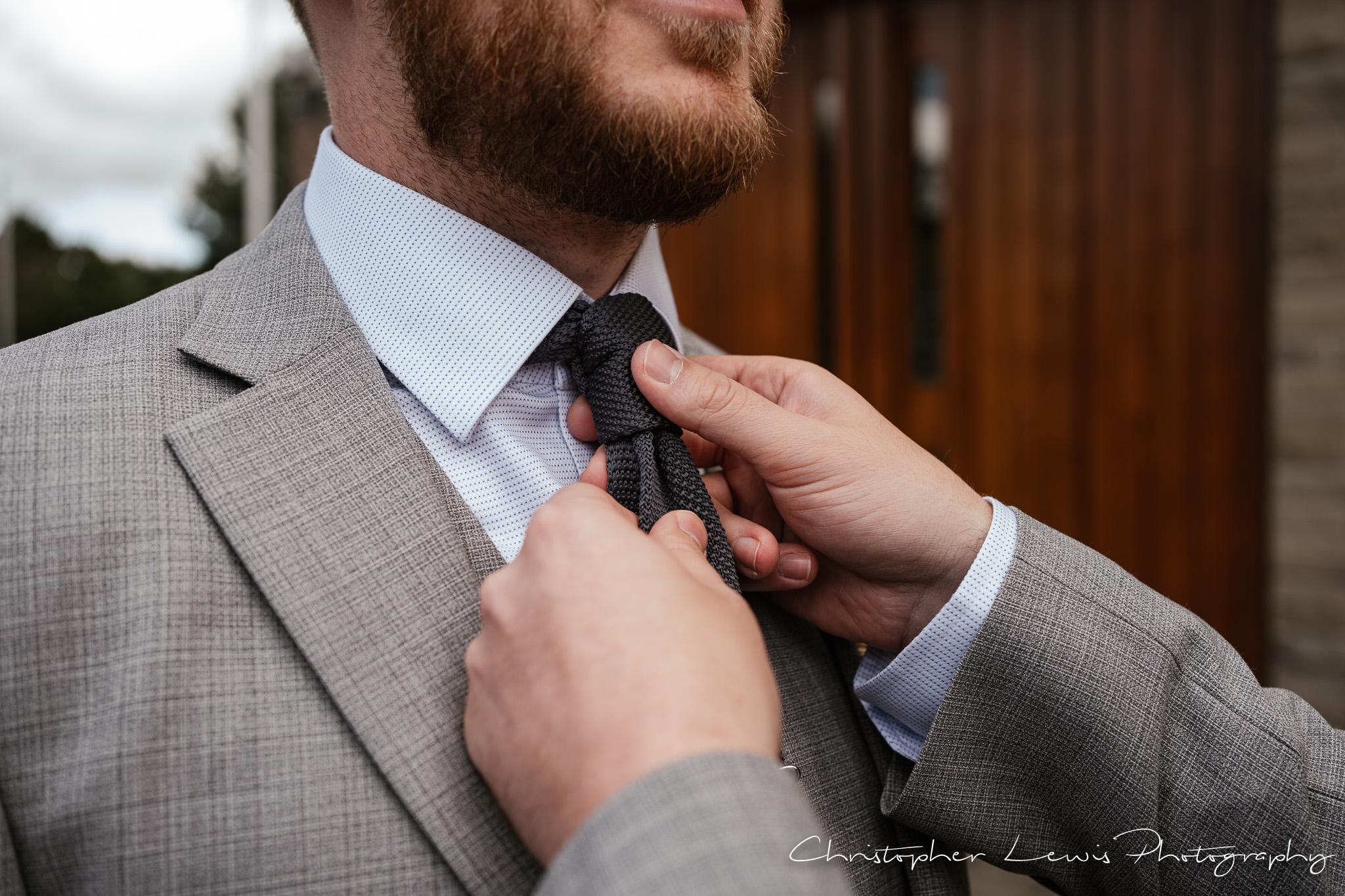 Samlesbury Hall Wedding wedding tie
